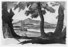 Claude Lorrain; Hilly Landscape Seen Between Tree Trunks; 1638-40; brush drawing in brown wash, over graphite; 221 x 330 mm; British Museum