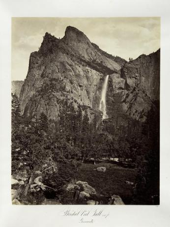 Carlton E. Watkins; Bridal Veil Fall, 940 feet, Yosemite; c.1876; albumen silver print from glass negative; The Metropolitan Museum of Fine Art