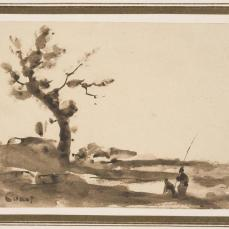 Jean-Baptiste Camille Corot; Landscape, with large tree on left, two figures at right, one holding long pole; 1860s; brush and brown wash on beige wove paper; 7 x 9.5 cm; Museum of Fine Arts, Boston
