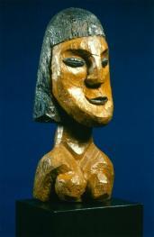 Ernst Ludwig Kirchner; Head of a Woman, Head of Erna; 1913; wood