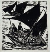 Ernst Ludwig Kirchner; Sailboats at Fehmarn; 1914; woodcut with black wash additions; Saint Louis Art Museum