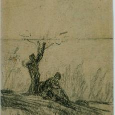 Jean-Francois Millet; Figure Seated Under a Tree; 1852-53; conté crayon on paper; The Phillips Collection, Washington DC