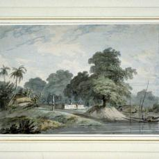 Thomas Daniell; Nearly Opposite Hoogley, N. 40 from an unidentified sketchbook; c.1784-94; watercolor over graphite on laid paper; Fine Arts Museum of San Francisco