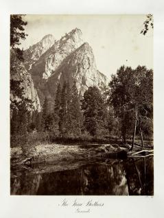 Carlton E. Watkins; The Three Brothers, Yosemite; c.1872; albumen silver print from glass negative; The Metropolitan Museum of Art