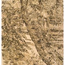 Vincent van Gogh; Tree with Ivy in the Garden of the Asylum at Saint-Rémy; 1889; reed pen, brush, and ink, graphite on laid paper; 61.8 x 47.1 cm; Van Gogh Museum, Amsterdam, North Holland, Netherlands