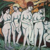 Ernst Ludwig Kirchner; Five Bathers at the Lake; 1911; oil on canvas; 151 x 197 cm