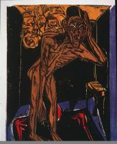 Ernst Ludwig Kirchner; Schlemihl in the Loneliness of His Room; 1915; color woodcut on paper; 33.5 x 23.7 cm