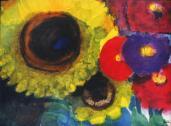 Emil Nolde; Sunflowers & Zinnias; watercolor; 34 x 45.5 cm