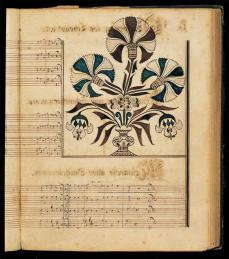 Artist unidentified; Ephrata Cloister Tunebook; c.1745; watercolor and ink on paper, with cloth and leather binding; American Folk Art Musuem