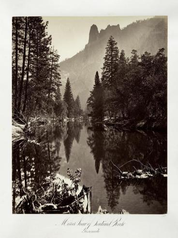 Carlton E. Watkins; Mirror View of Sentinel Rock, Yosemite; c.1876; albumen silver print from glass negative; The Metropolitan Museum of Fine Art