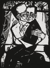 Erich Heckel; Brother and Sister; woodcut; 20th century; Grunwald Center for the Graphic Arts