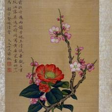 Chiang Su; Quince Blossoms; 18th century; opaque watercolor on silk mounted to paper support; 30 x 21.2 cm; Fine Arts Museum of San Francisco