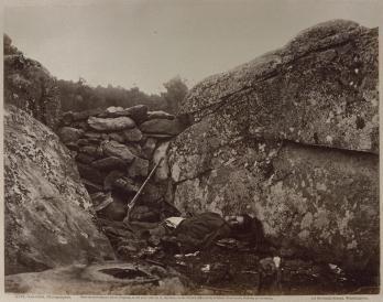 Alexander Gardner; Home of a Rebel Sharpshooter, Gettysburg; 1863