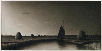 Martin Johnson Heade; Newburyport Marshes, Twilight; 11 x 21 5/8 inches; charcoal on paper touched with white chalk; Museum of Fine Arts, Boston