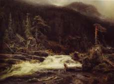 August Cappelen, Waterfall in Lower Telemark 1852