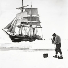 Ponting, Herbert Scott's Antarctic , December 1910. Herbert Ponting, a professional travel photographer hired by Scott, took this portrait of himself photographing the Terra Nova in the pack ice.