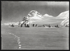 Scott, R F Antarctic , Dec. 11, 1911. Scott took this image from the Lower Glacier Depot in the direction of the group's journey toward the pole.