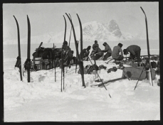 Scott, R F Antarctic , Dec. 13, 1911. Members of the expedition worked to free a sledge from soft snow.