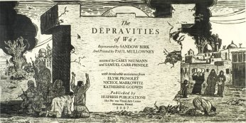 "Sandow Birk, ""The Depravites of War"" - a series of 15 large scale woodblock prints"