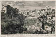 Giovanni Francesco Venturini; View of the Main Waterfall of the River Aniene in the City of Tivoli; etching; 1691; 22.5 x 34.5 cm; Elizabeth Barlow Rogers Collection (New York, NY)