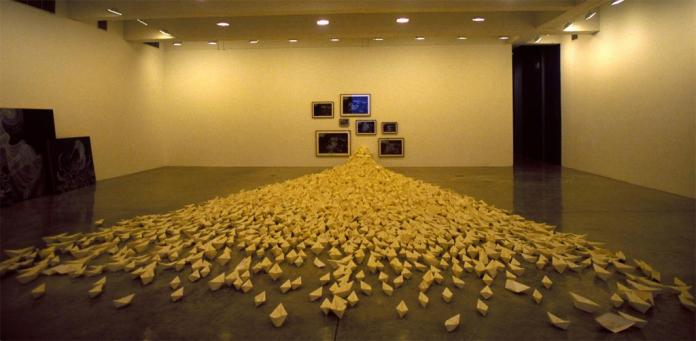 Sandra Clinto; The Difficult Journey (after Géricault); 2007; digital prints and permanent pen in 7 parts; paper boats