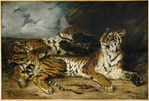 Eugène Delacroix; A Young Tiger Playing with its Mother; 1830; oil on canvas; 131 x 194.5 cm