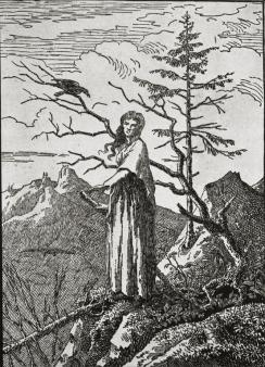 Caspar David Friedrich; Woman at the Precipice; 1803-4; woodcut