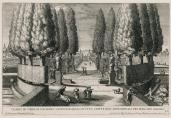 Giovanni Francesco Venturini; Theater of Cypress with Twelve Springs and With Eight Statues of the Liberal Arts in the Lower Garden; 1691; etching; 22.1 x 32.8 cm; Elizabeth Barlow Rogers Collection