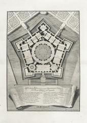 Giuseppe Vasi; Geometrical plan of the piano nobile of the royal palace of Caprarola; etching; c.1748; Elizabeth Barlow Rogers Collection