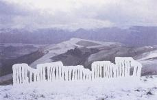 Andy Goldsworthy; Slits cut into frozen snow/ stormy/ strong wind/ weather and light rapidly changing; 1988; snow; Blencathra, Cumbria