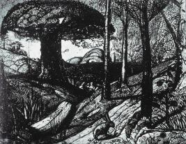 Samuel Palmer; Early Morning; 1825; sepia mixed with gum and varnished