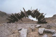 Andy Goldsworthy; Slate arch/ made over two days/ fourth attempt; 1982; Blaenau Ffestiniog, Wales