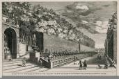 Giovanni Francesco Venturini; Another Principal View in Profile of the Alley of the Hundred Fountains in the Extensive Gardens of Tivoli; etching; 1691; 22.7 x 34.4 cm; Elizabeth Barlow Rogers Collection (New York, NY)