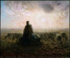 Jean-François Millet; Shepherdess and Flock at Sunset; 1868-70; pastel and black conté crayon on paper; Museum of Fine Arts, Boston