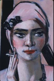 Beckmann_QuappiInRoseDeatilHead_1934