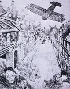 Otto Dix; Bombing of Lens from The War; 1924; etching, aquatint, drypoint; Museum of Modern Art