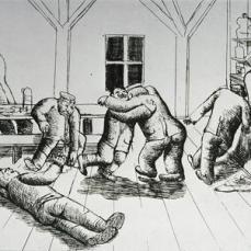 Otto Dix; Cantine in Haplincourt; 1924; etching; 19.8 x 25.9 cm