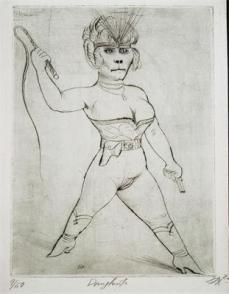 Otto Dix; Circus: Animal Trainers; 1922; drypoint; 29.9 x 29.7 cm