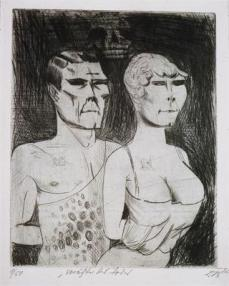 Otto Dix; Circus: Distainers of Death; 1922; drypoint; 34.7 x 27.7 cm