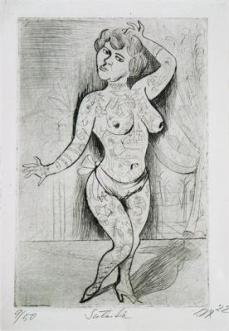 Otto Dix; Circus: Tattooed Woder: Suleika; 1922; drypoint; 29.9 x 19.8 cm