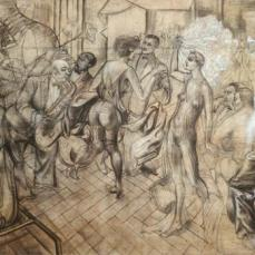 Otto Dix; Drawing for Grosstadt (detail of center); 1927