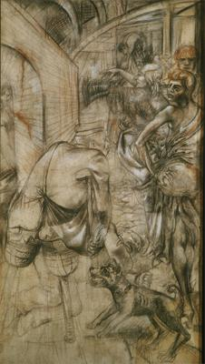 Otto Dix; Drawing for Grosstadt (detail of right); 1927