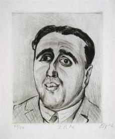 Otto Dix; Portrait of J.B. Neuman; 1922; drypoint; 29 x 24 cm