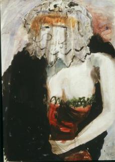 Otto Dix; Lady in Fur-Lined Cloak; 1923; watercolor; 78 x 55 cm