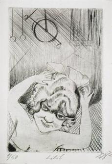 Otto Dix; Lilli, Queen of the Air; 1922; drypoint; 29.9 x 19.8 cm