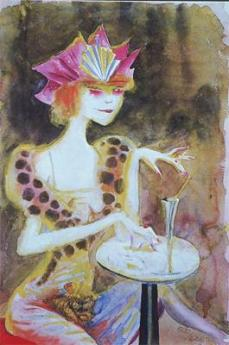 Otto Dix; Mieze, Evening in the Café; 1923; watercolor; 56.7 x 38.7 cm