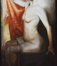 Otto Dix; Red-Haired Nude Seated; 1930; mixed media; 134 x 65 cm