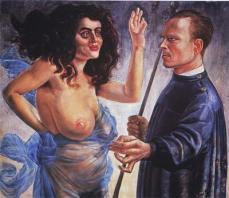 Otto Dix; Self-Portrait & Muse; 1924; oil and glaze on canvas