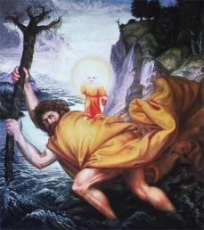 Otto Dix; St. Christopher and the Christ; oil on canvas