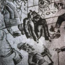 Otto Dix; Street Scene; 1920; drypoint; 25 x 22 cm